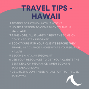 Booking Tip Reference Sheet for Hawaii